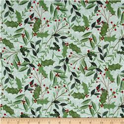 Wilmington Frosted Holiday Sprigs Allover Green