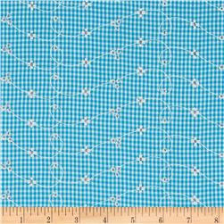 Embroidered Woven Gingham Turquoise