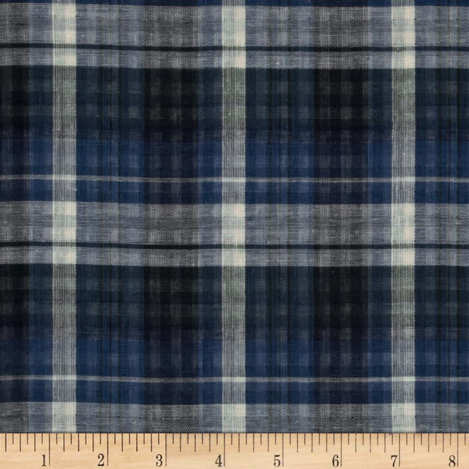 Designer Shirting Plaid Blue/Black/White