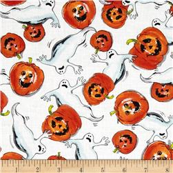 Trick or Treat Ghost & Pumpkins White