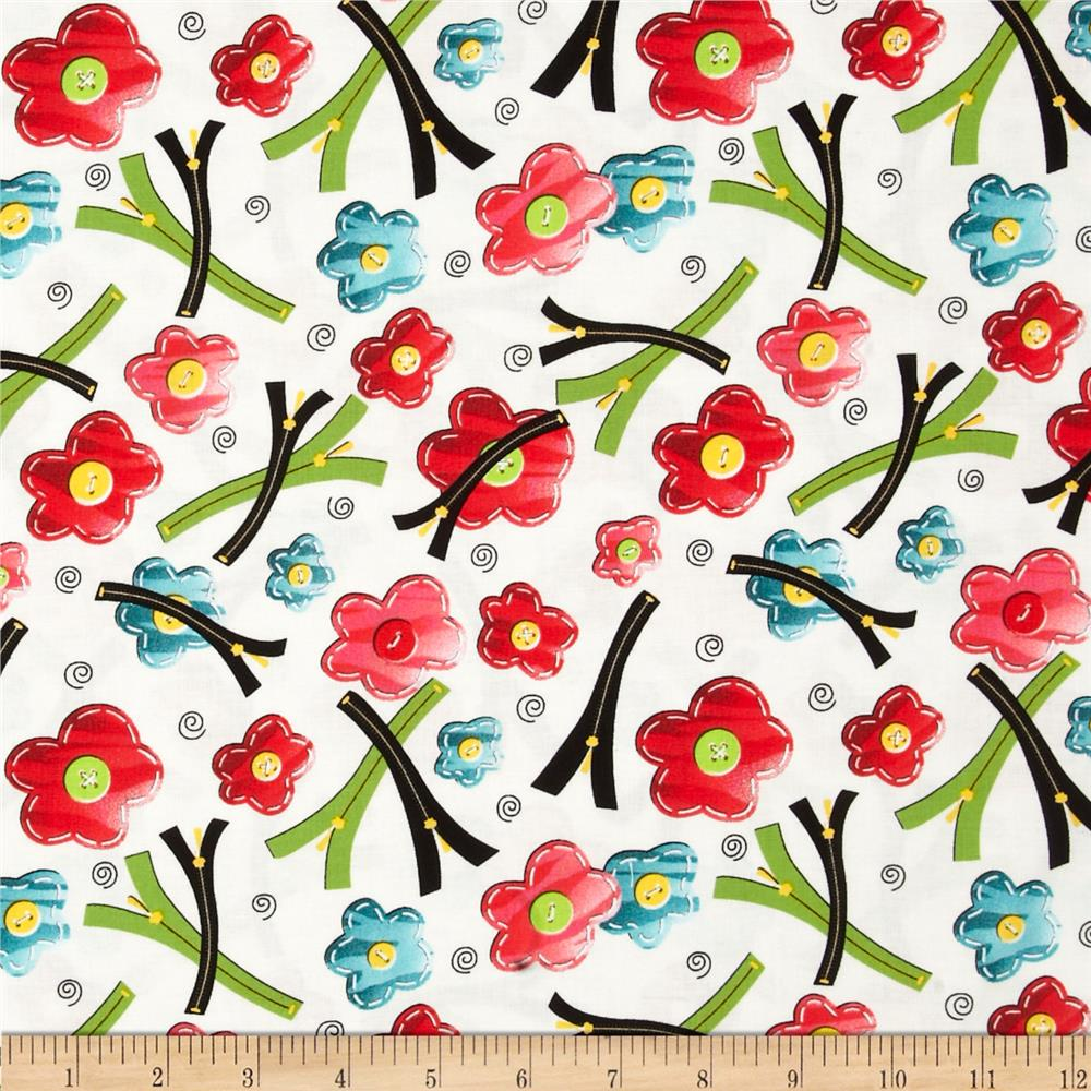 Sew what flower pins w zippers cream discount designer for Cheap sewing fabric