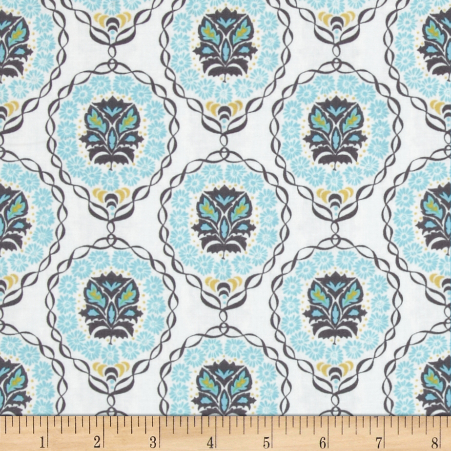 Valori Wells Quill Medallion Strand Ginger Blue Fabric