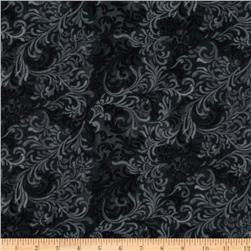 108'' Flourish Quilt Backing Black Fabric