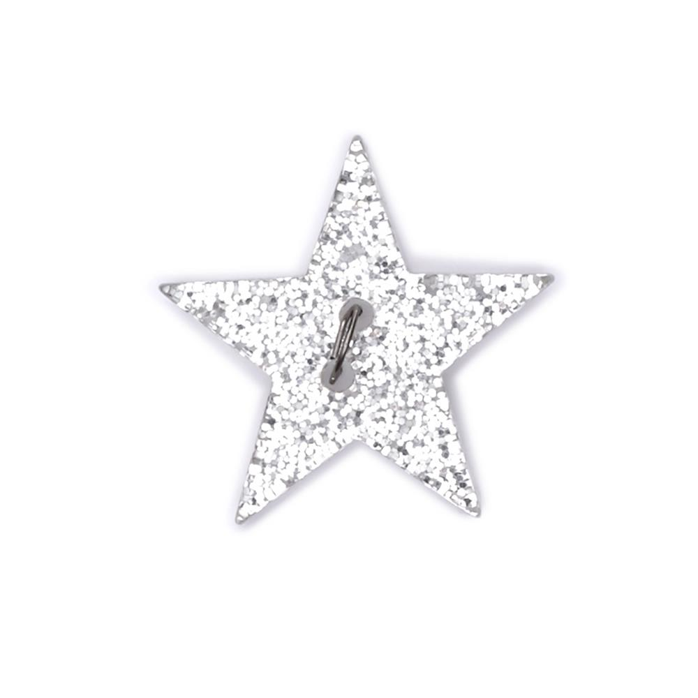 "Novelty Button 1"" Rising Star Silver"