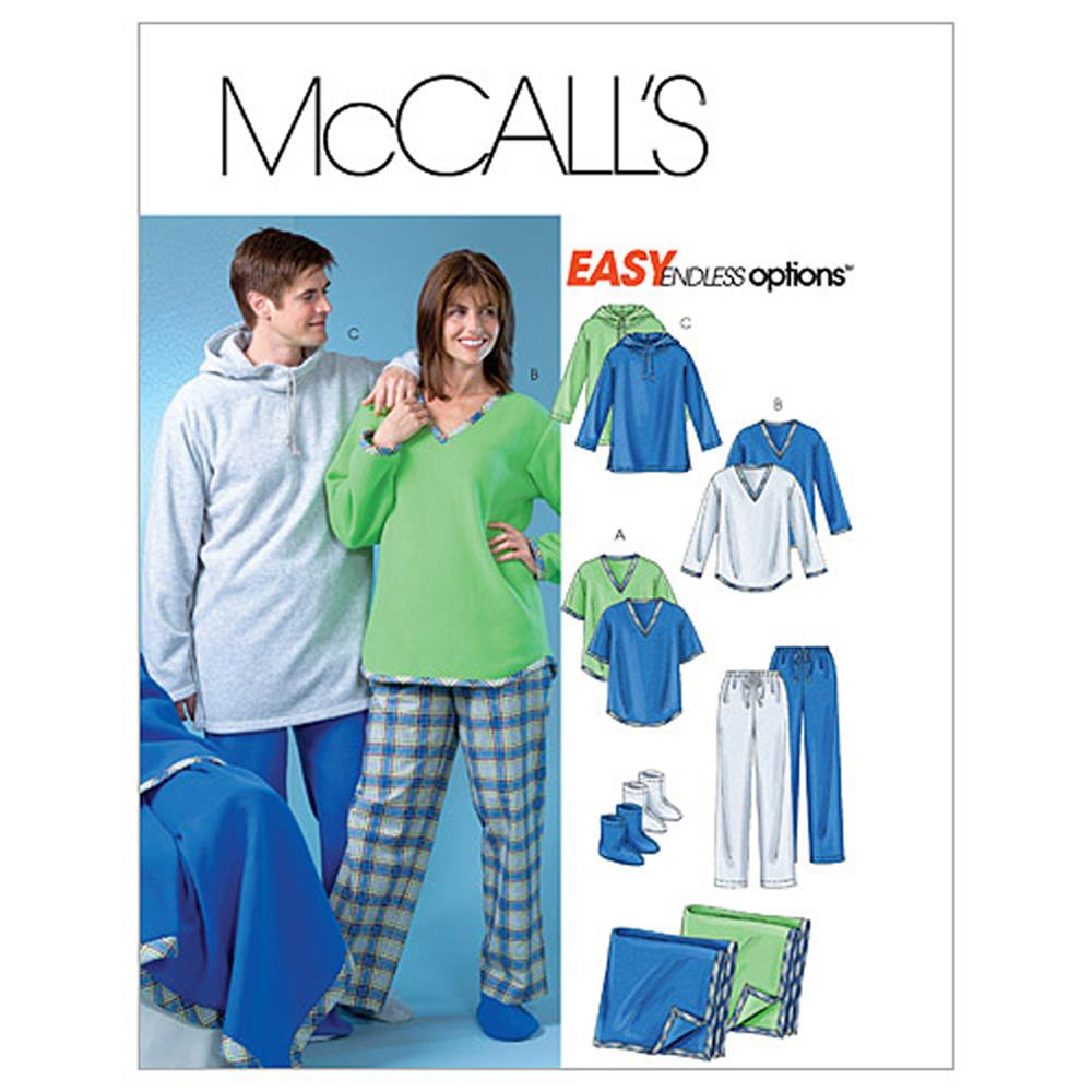 McCall's Misses'/Men's/Teen Boys' Tops, Pants, Socks and Blanket Pattern M4675 Size 0Y0