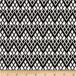 Black & Tan Chevron Trellis Black/White Fabric