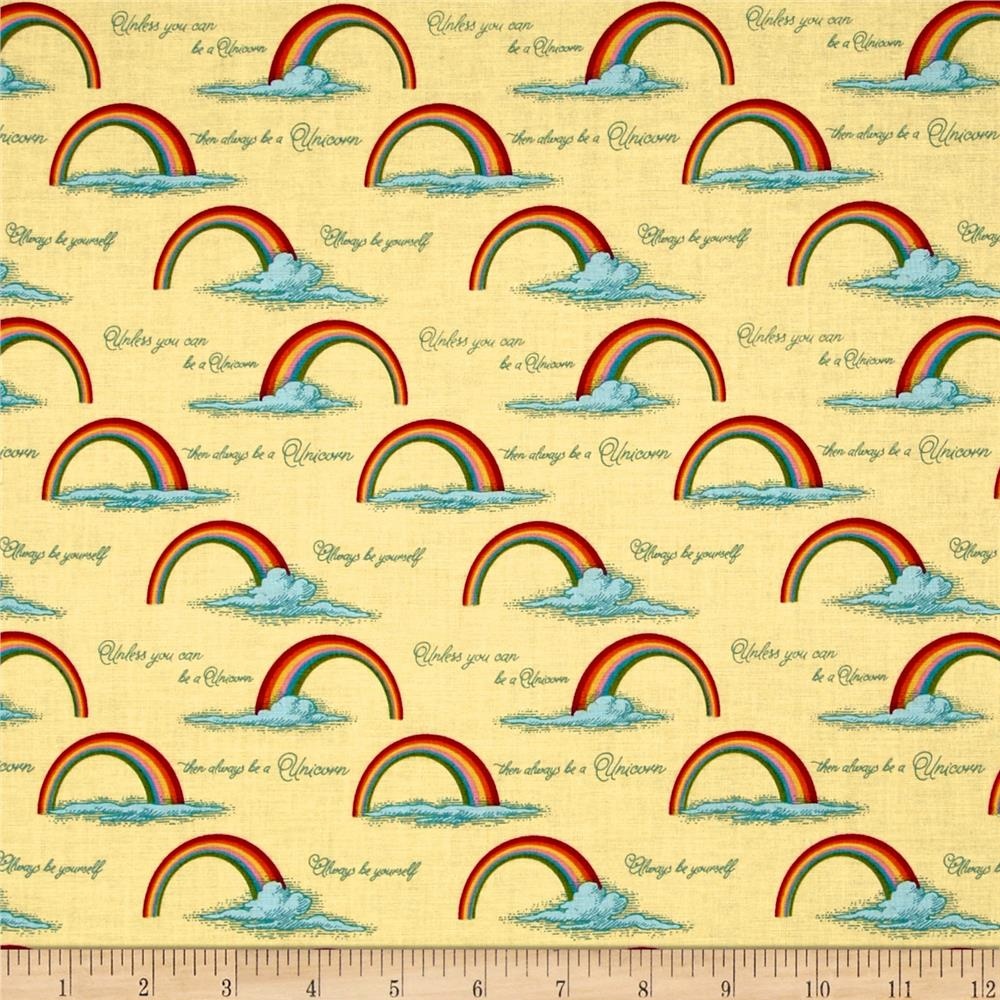 Riley Blake Unicorn & Rainbows Poster Yellow