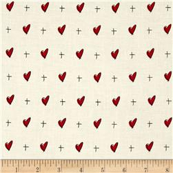 "Mary Fons Small Wonders 108"" Quilt Back Signature Hearts Cream"
