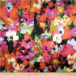 Stretch Satin Floral Bright