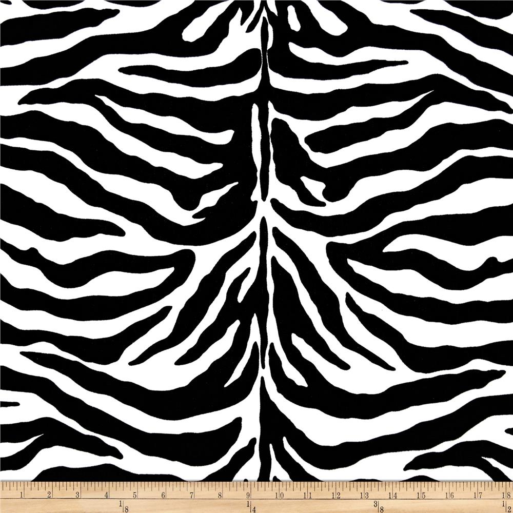 Poly Cotton Twill Zebra Print Black White Discount Designer Fabric