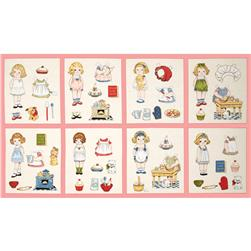 Penny Rose Paper Dolls Bakery Paper Dolls 24'' Panel Pink