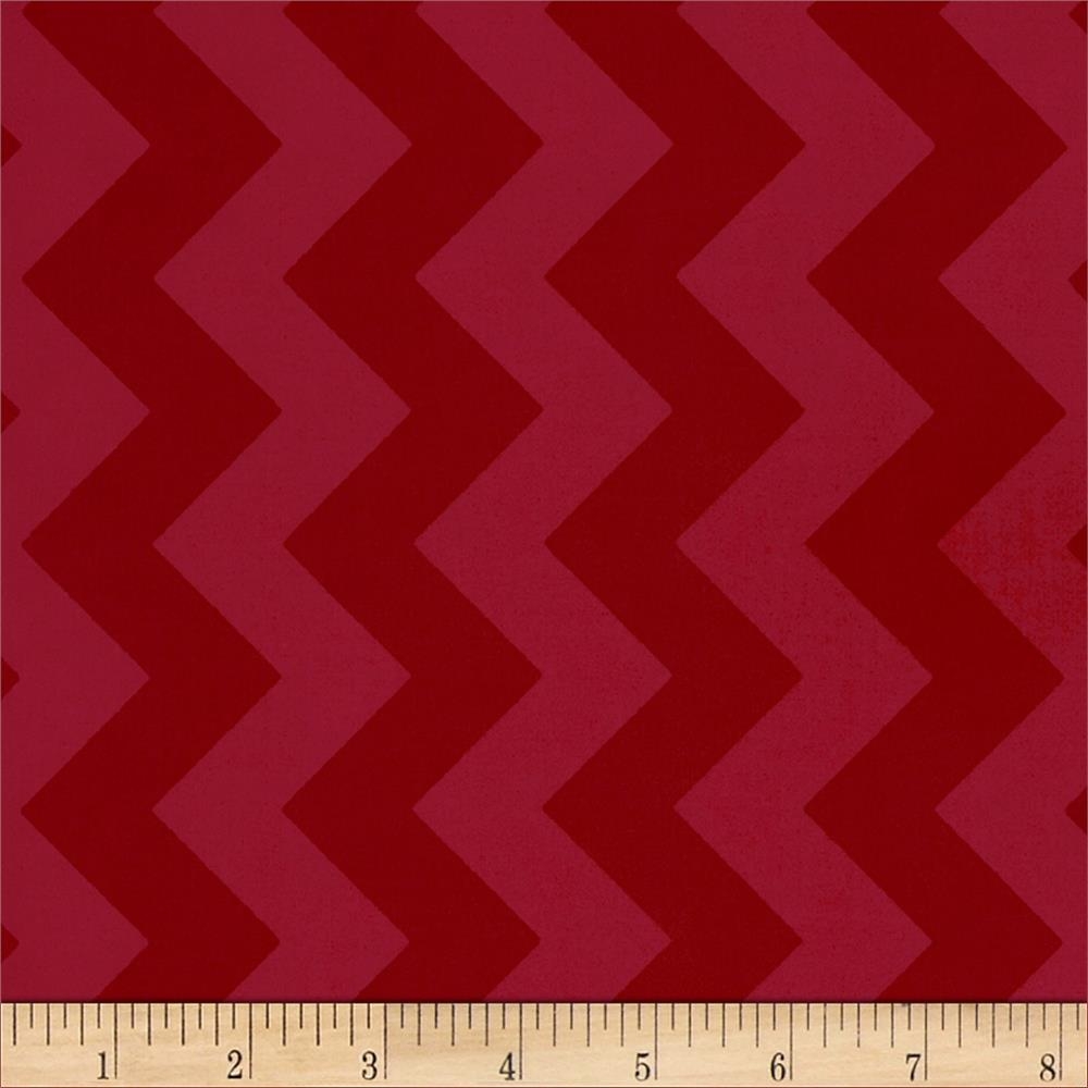 Riley Blake Laminate Medium Chevron Tone on Tone Red