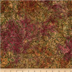 "106"" Wide Batavian Batiks Quilt Backing Packed Leaves Multi"