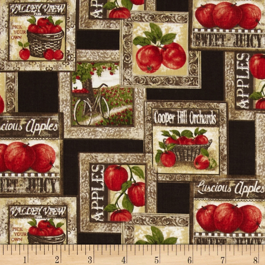 Apple picking time discount designer fabric for Home interiors apple orchard collection
