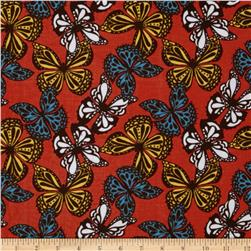 Kaufman 21 Wale Cool Cords Butterflies Cayenne Fabric