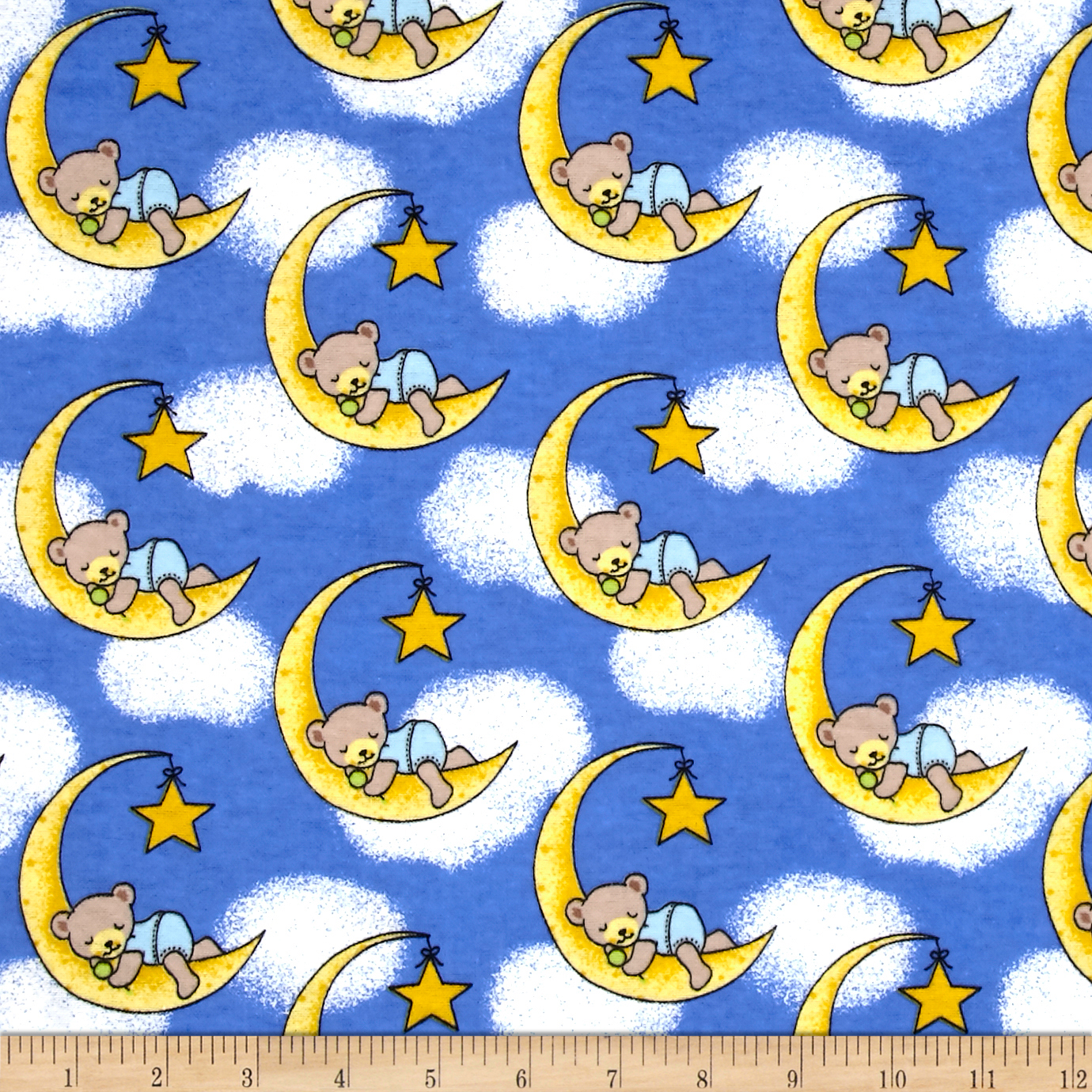 Flannel Dreamy Bear Royal Fabric by Newcastle in USA