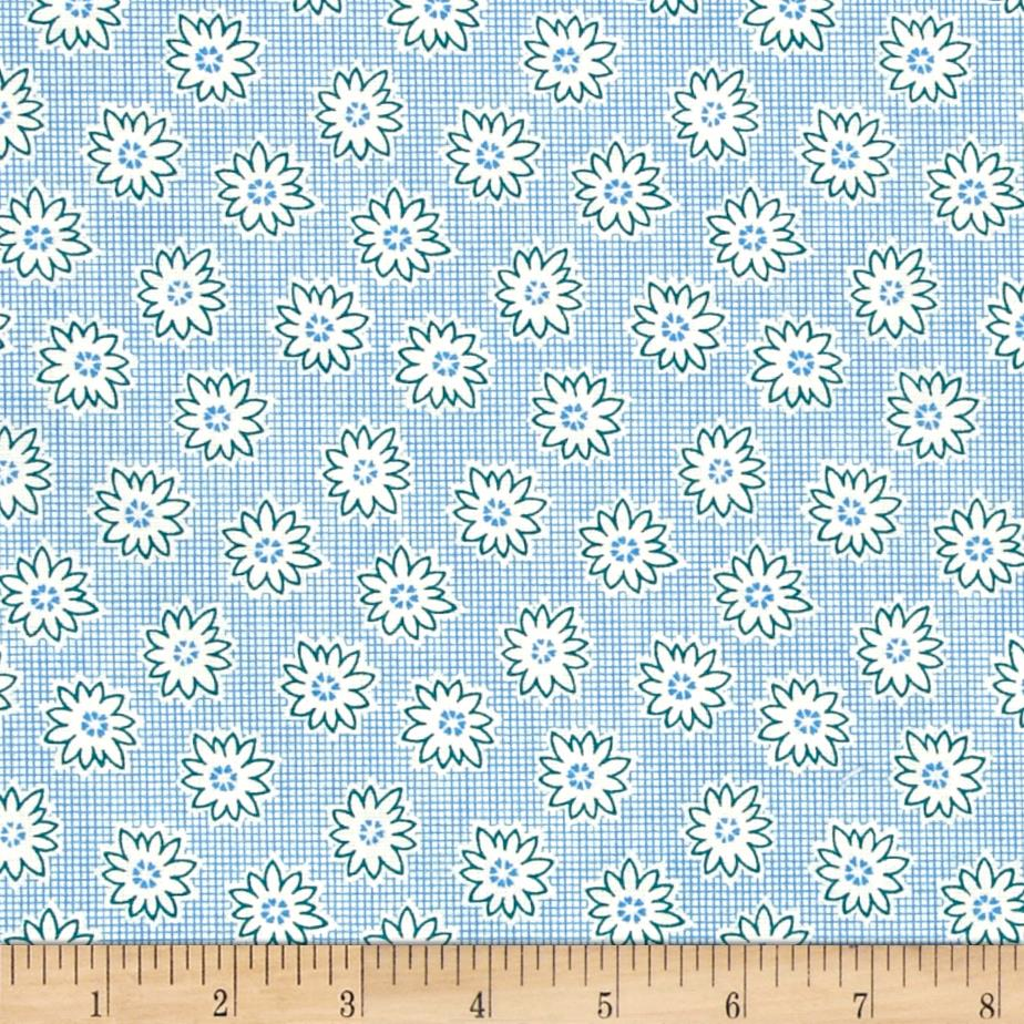 "108"" Wide Back Flower Grid Blue"