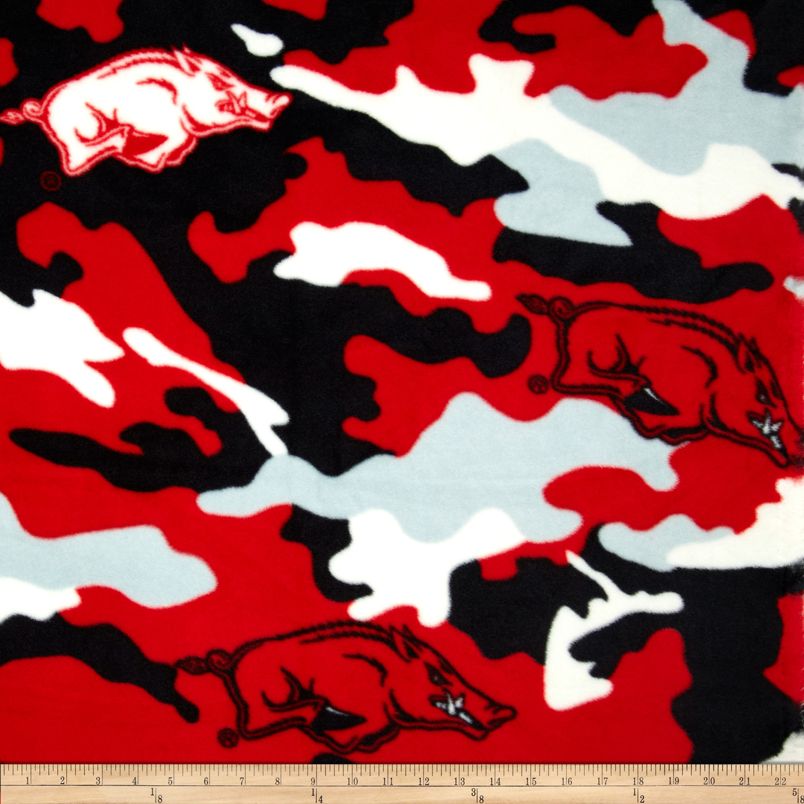 University of Arkansas Fleece Camo Red Fabric