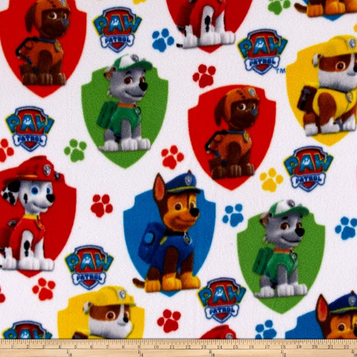 Nickelodeon Paw Patrol Fleece Rescue White Fabric By The Yard