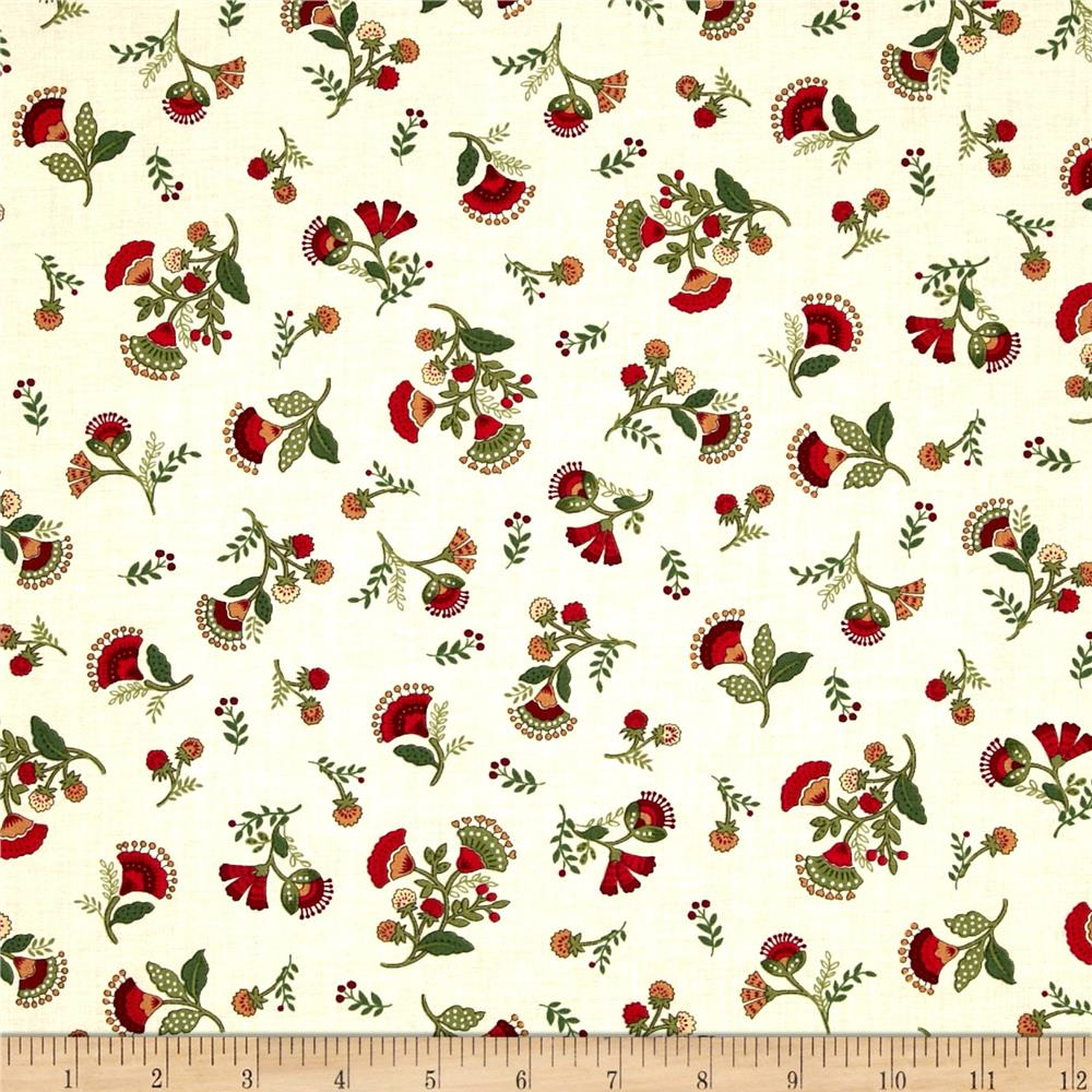Timeless Treasures Jasmine Small Tossed Floral Cream