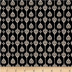 Peachskin Flourish Print Black/Cream