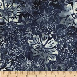 Timeless Treasures Tonga Batiks Bluegrass Perennials Sapphire