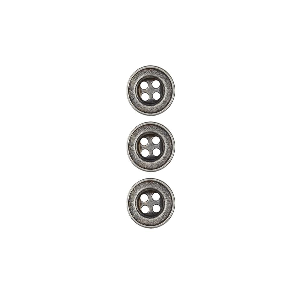 Dill Buttons 7/16'' Full Metal Button Antique Silver