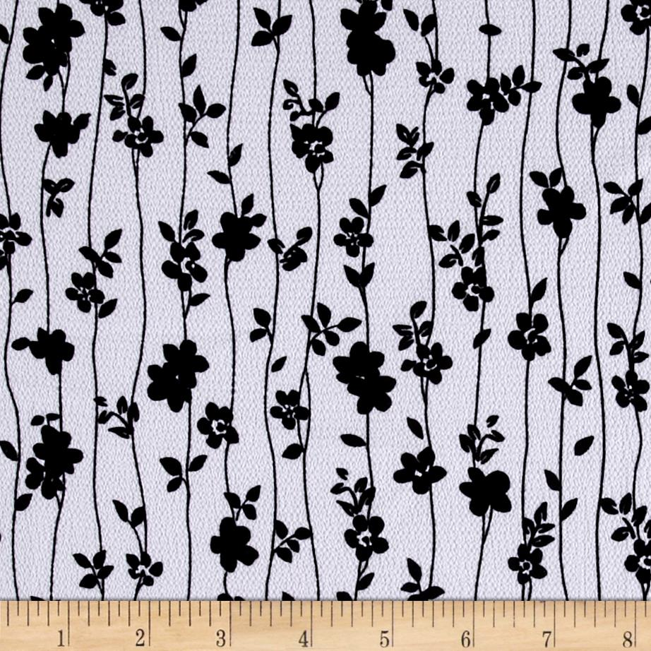 Telio Pebble Crepe Black Floral on White