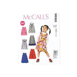 McCall's Children's/Girls' Tops, Dresses and Skirt Pattern M6983 Size CDD