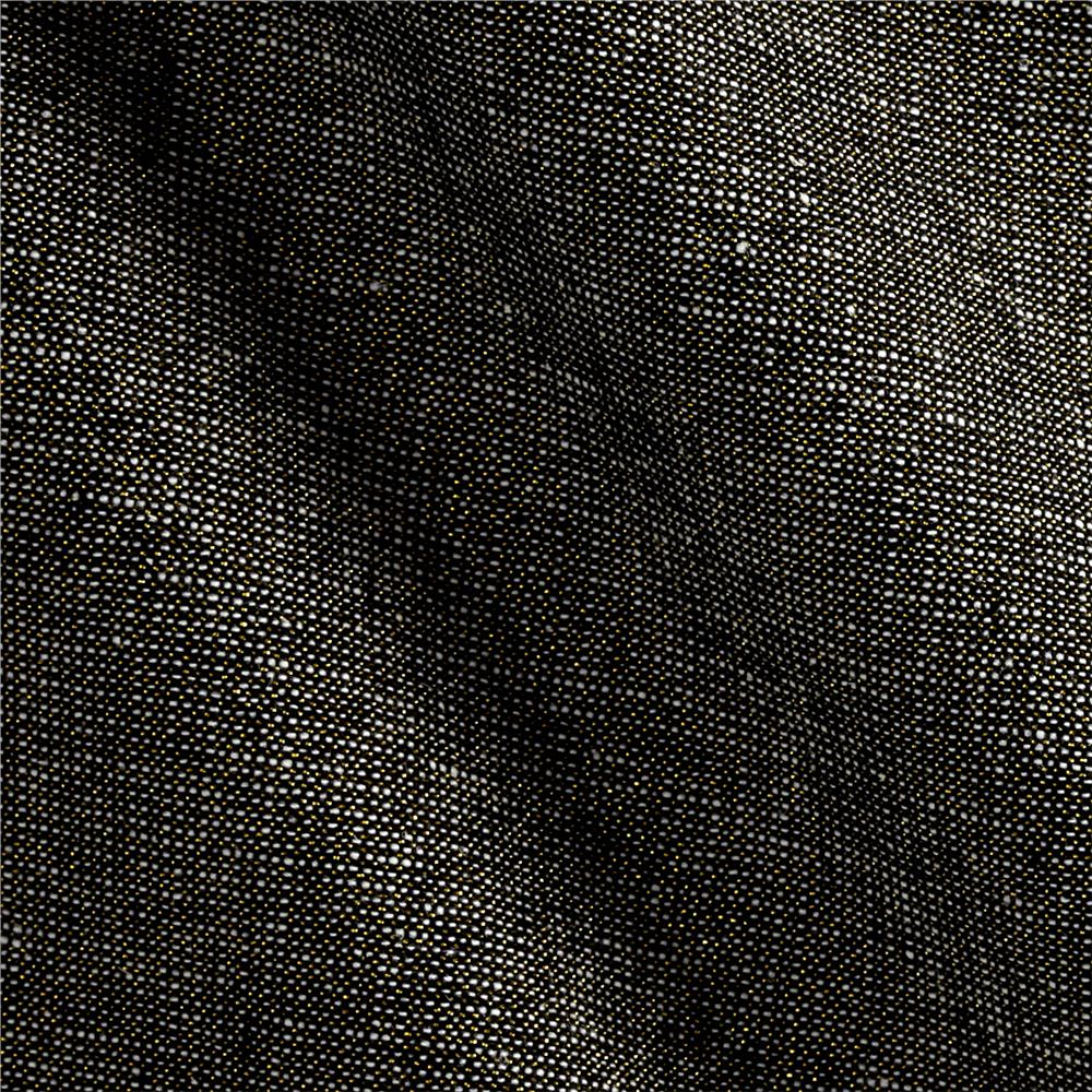 Kaufman Essex Yarn Dyed Linen Blend Metallic Black