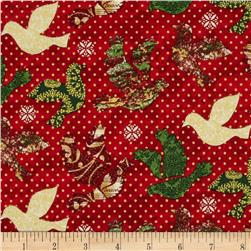 Peace on Earth Doves with Dots Red