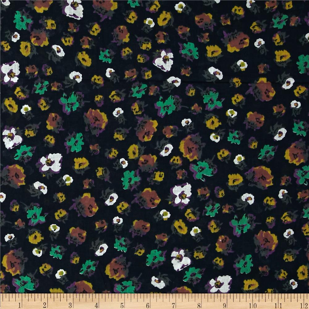 Cotton Lawn Print Floral Navy/Yellow/Mint