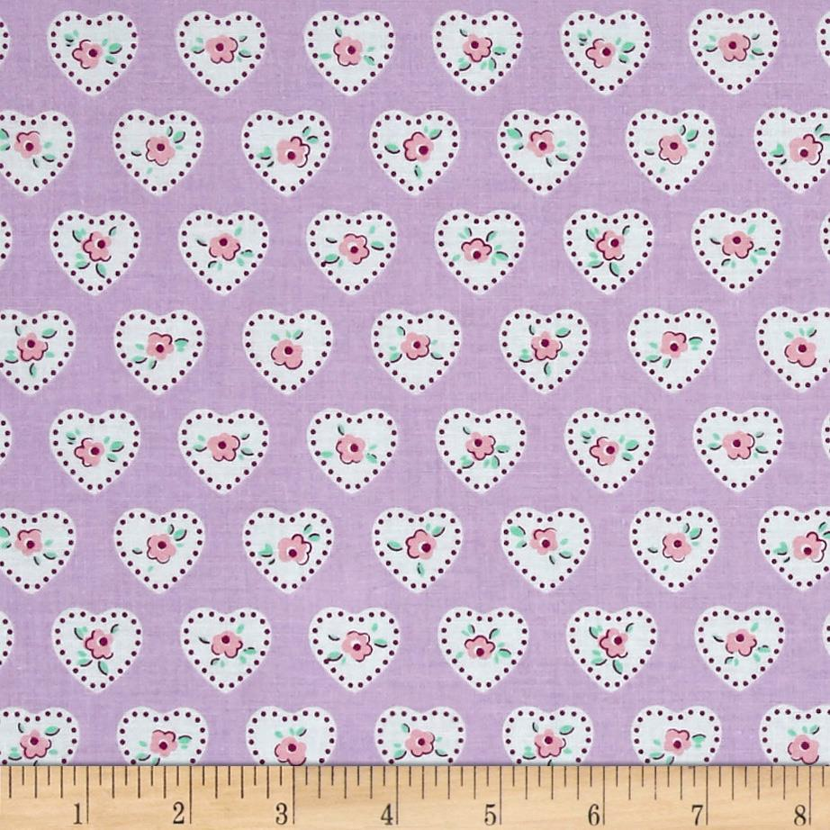 Penny Rose Dolly Hearts Lilac Fabric