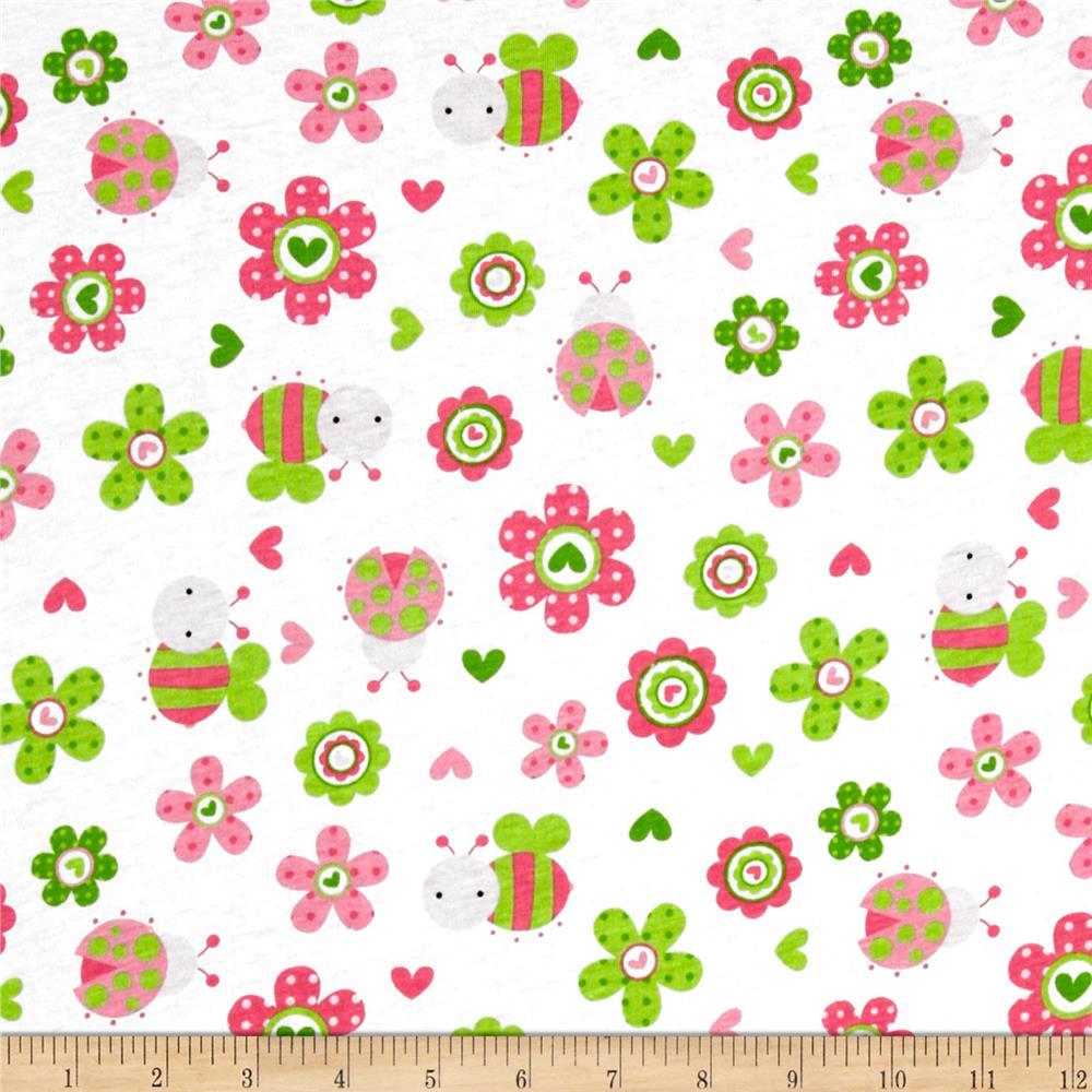 Cotton Jersey Knit Bumble Bees & Hearts Pink/Green