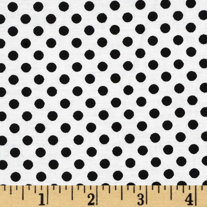 Dotties White/Black Fabric