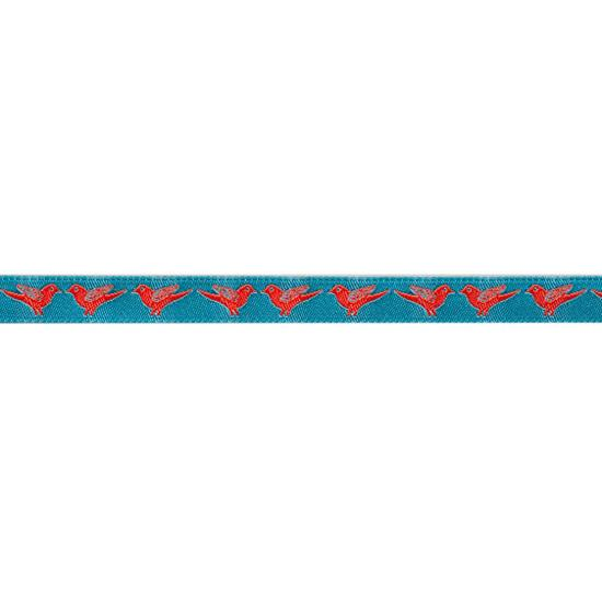 "3/8"" Sue Spargo Ribbon Tiny Birds Orange/Turquoise"