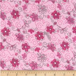 Flannel Elephants & Flowers Pink