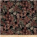 Liberty of London Dufour Jersey Knit Floral Filligree Black/Coral