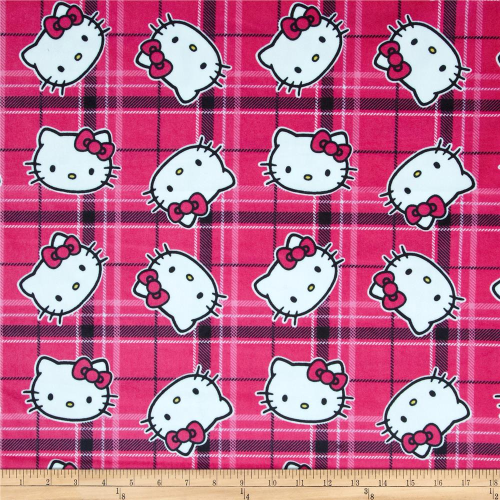 Hello Kitty Plaid Toss Minky Pink