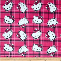 Hello Kitty Minky Plaid Toss Pink