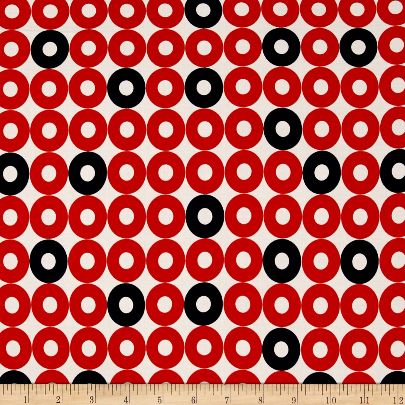 Cotton + Steel Rotary Club Rayon Challis Ring Rings Red-Navy Fabric by Cotton & Steel in USA