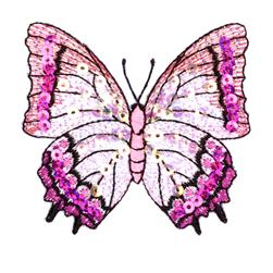 Large Butterfly Iron On Sequin Applique Mauve