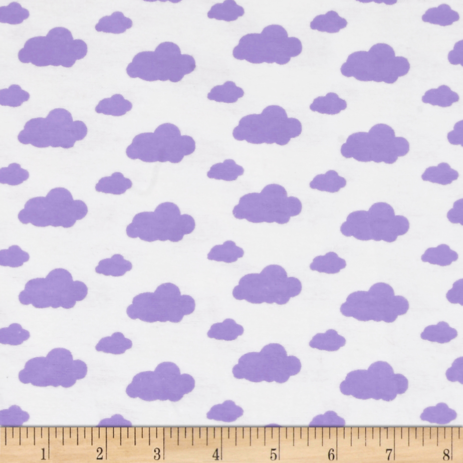 Dreamland Flannel Dreamy Clouds White/Lavender Lily Fabric by David in USA