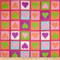 Polar Fleece Heart Print Hot Pink