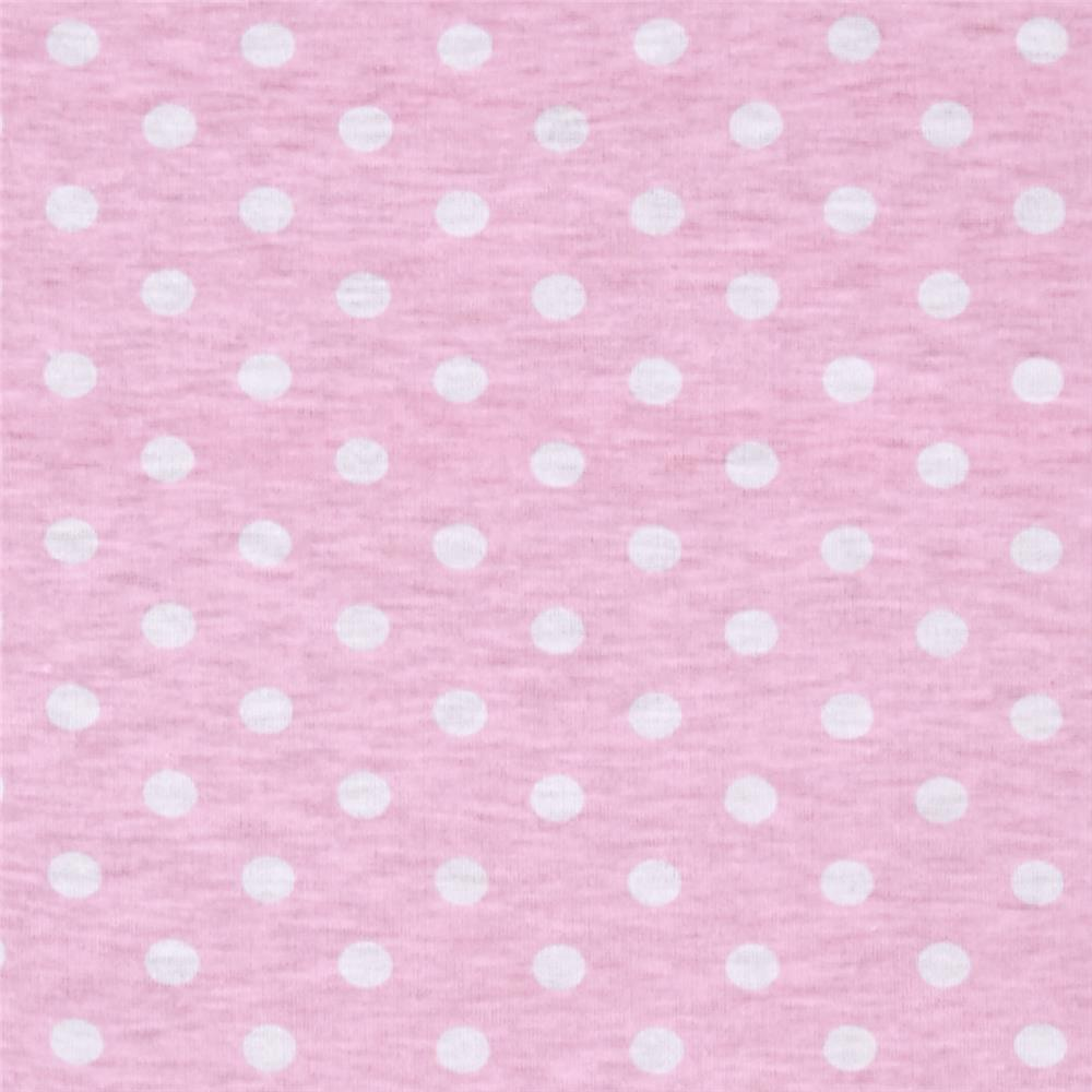Polyester Jersey Knit Polka Dots Pink/White