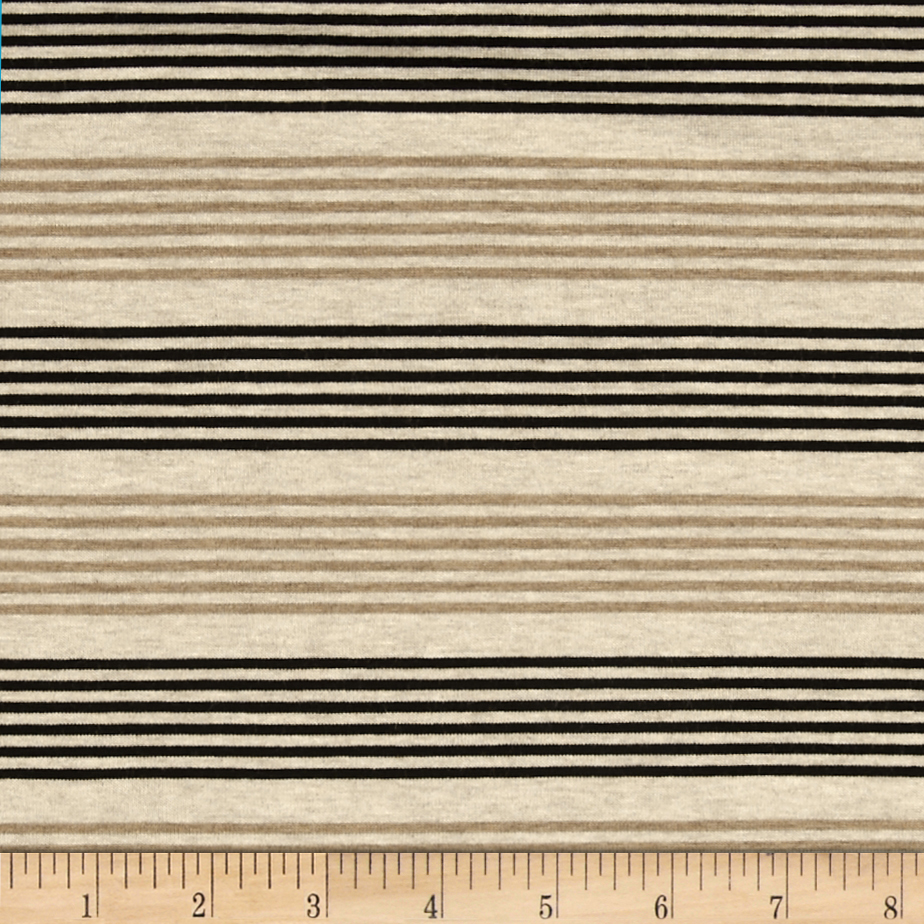 Designer Stretch Rayon Jersey Knit Thin Stripe Black/Tan