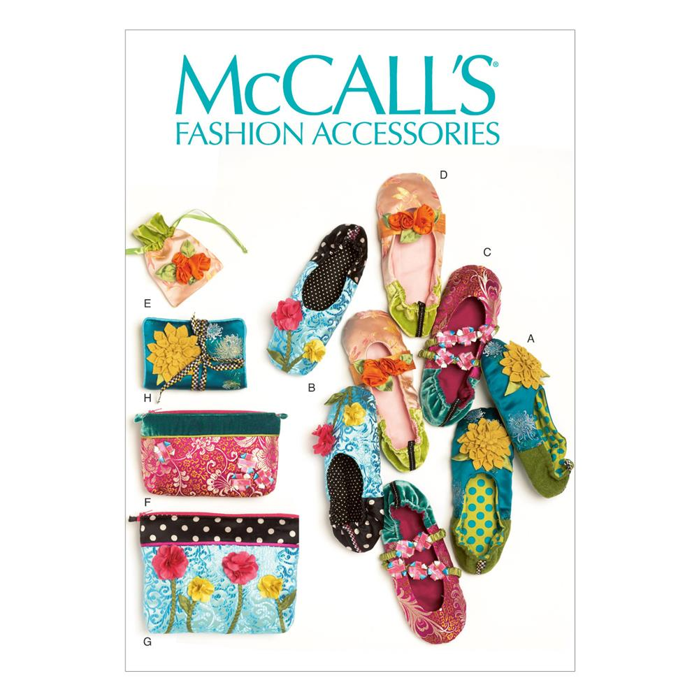 McCall's Slippers, Jewelry Pouch, Zipper Bags and Jewelry Case Pattern M6715 Size OSZ