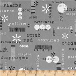 Word Play Patchwords Grey Fabric