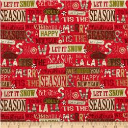 Holiday Stitches Holiday Words Red