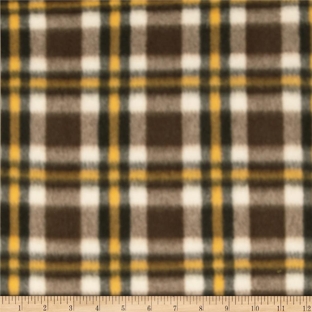 Printed Fleece Plaid Brown/Yellow